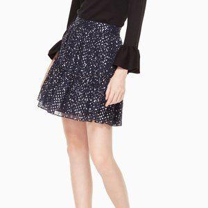 Kate Spade Night Sky Ruffle Shiny Mini Skirt Navy